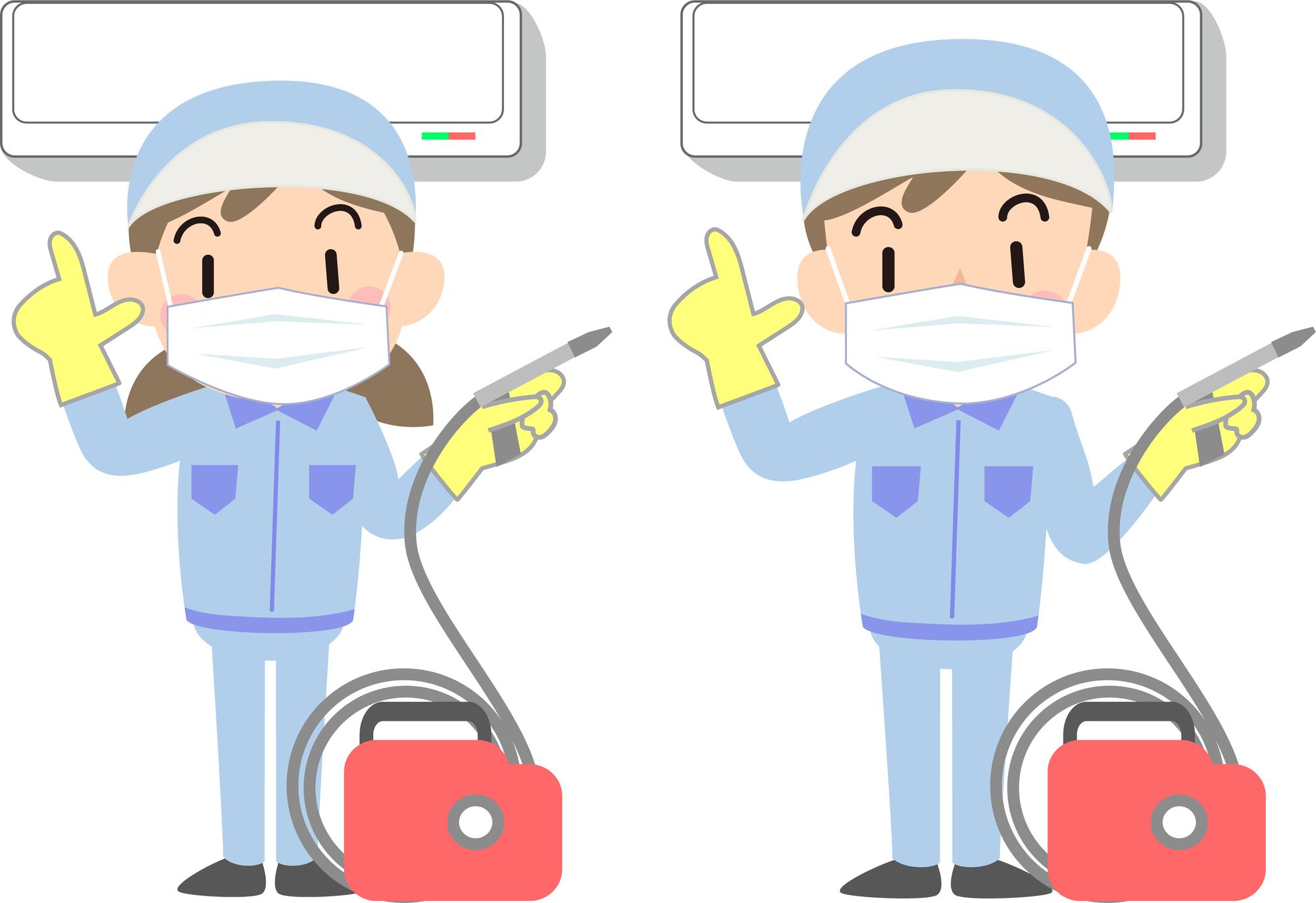 マスクを付けて2台のエアコンクリーニングをするスタッフのイラスト