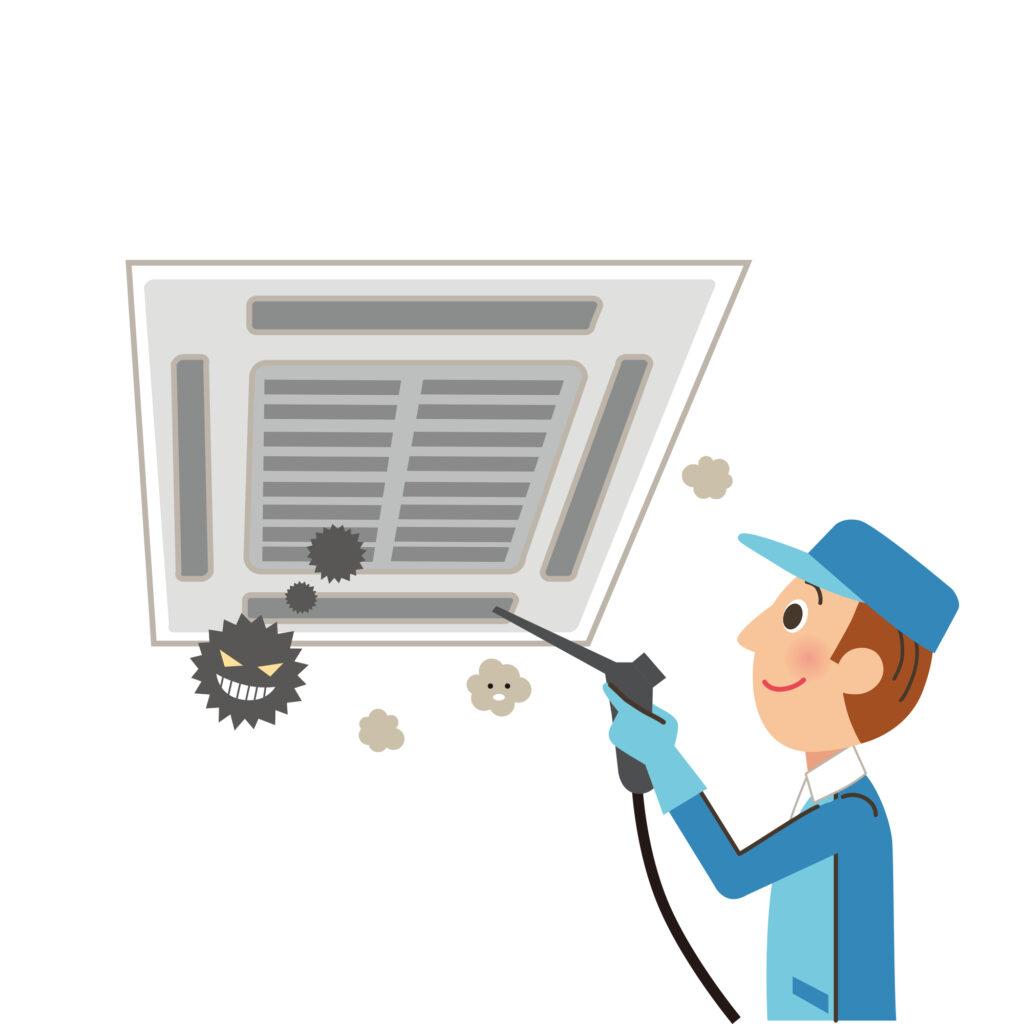 天井エアコンのクリーニングをする業者のイラスト